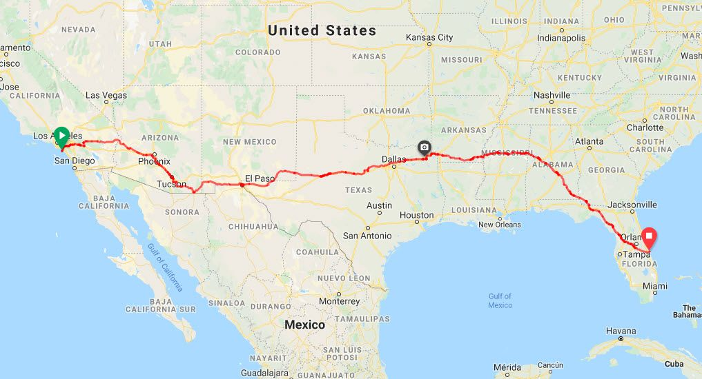 T1Determined - USA route map